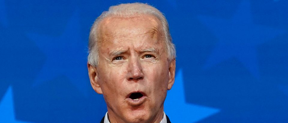 Democratic presidential nominee Joe Biden speaks at The Queen theater on November 05, 2020 in Wilmington, Delaware. (Drew Angerer/Getty Images)