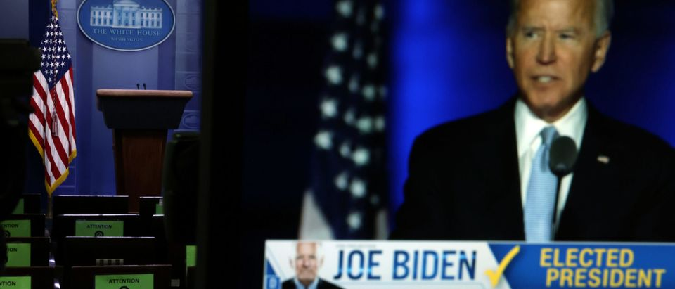 President-Elect Joe Biden's Address To The Nation Is Shown On Televisions At The White House