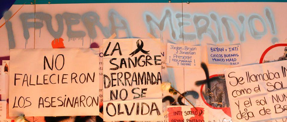 Peruvians Hold A Vigil After Merino's Resignation