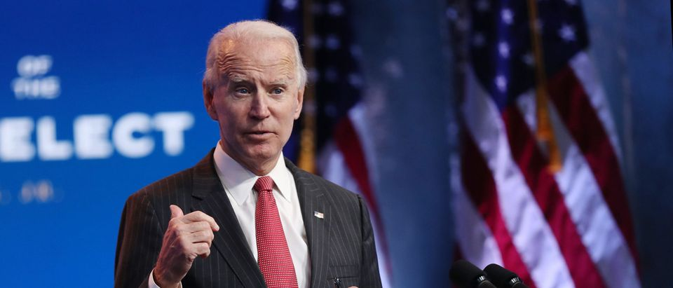U.S. President-elect Joe Biden speaks as he addresses the media after a virtual meeting with the National Governors Association's executive committee at the Queen Theater on November 19, 2020 in Wilmington, Delaware. (Joe Raedle/Getty Images)