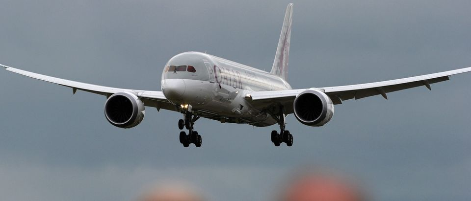 A Boeing B787 Dreamliner takes part in a