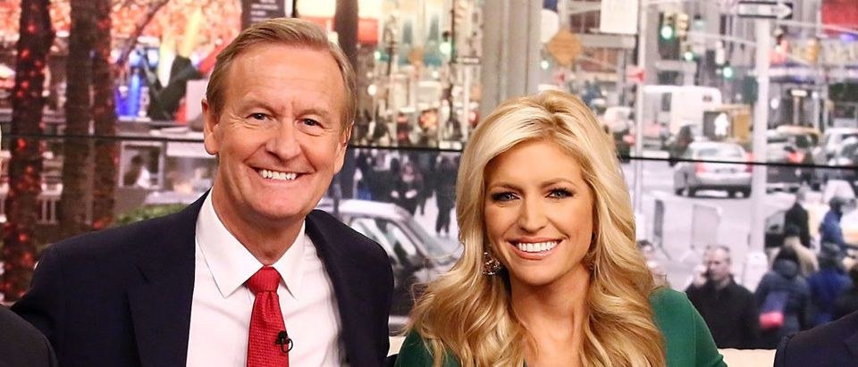"""(L-R) Vice President-Elect Mike Pence poses for photos with """"Fox & Friends"""" hosts, Steve Doocy, Ainsley Earhardt and Brian Kilmeade at Fox News Studios on December 6, 2016 in New York City. (Astrid Stawiarz/Getty Images)"""