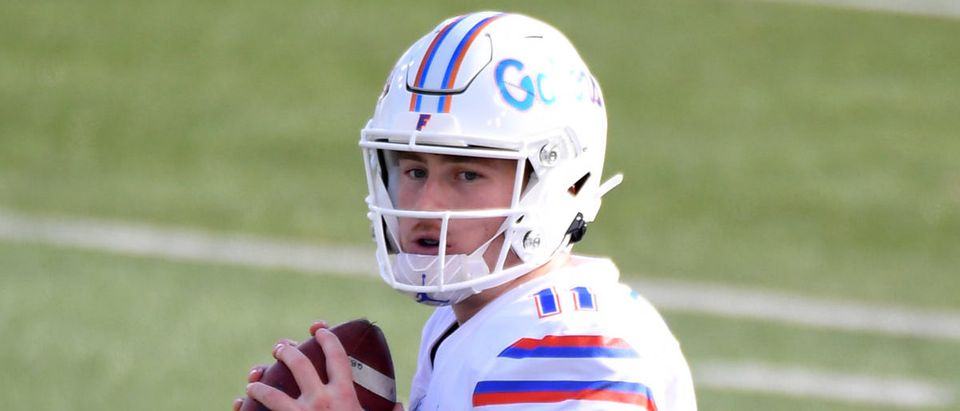 Nov 21, 2020; Nashville, Tennessee, USA; Florida Gators quarterback Kyle Trask (11) drops back to pass during the second half against the Vanderbilt Commodores at Vanderbilt Stadium. Mandatory Credit: Christopher Hanewinckel-USA TODAY Sports via Reuters