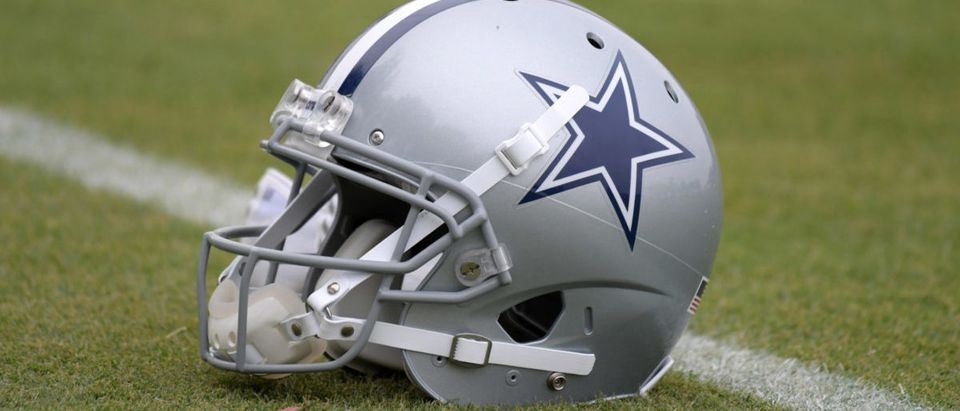 Jul 26, 2018; Oxnard, CA, USA; Detailed view of a Dallas Cowboys helmet on the field during training camp at River Ridge Fields. Mandatory Credit: Kirby Lee-USA TODAY Sports via Reuters