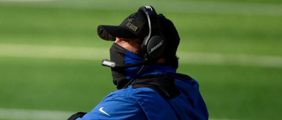 MINNEAPOLIS, MINNESOTA - NOVEMBER 08: Detroit Lions head coach Matt Patricia stands on the sidelines during their game against the Minnesota Vikings at U.S. Bank Stadium on November 08, 2020 in Minneapolis, Minnesota. (Photo by Stephen Maturen/Getty Images)
