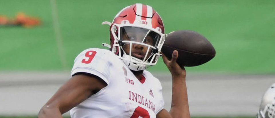 COLUMBUS, OH - NOVEMBER 21: Quarterback Michael Penix Jr. #9 of the Indiana Hoosiers throws downfield in the second quarter against the Ohio State Buckeyes at Ohio Stadium on November 21, 2020 in Columbus, Ohio. (Photo by Jamie Sabau/Getty Images)