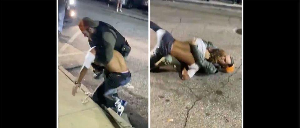 Police Fight (Credit: Screenshot/Twitter Video https://twitter.com/4500dinero/status/1332940296670351360)