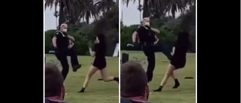 Police Kick (Credit: Screenshot/YouTube https://www.youtube.com/watch?v=7IxPymiIeKs)