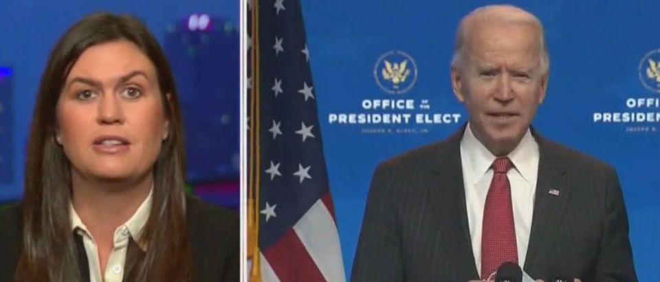 Sarah Sanders reacts to press treatment of Biden (Fox News screengrab)