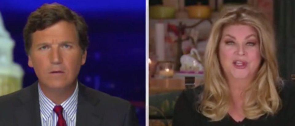 Tucker Carlson speaks with actress Kirstie Alley. Screenshot/Fox News