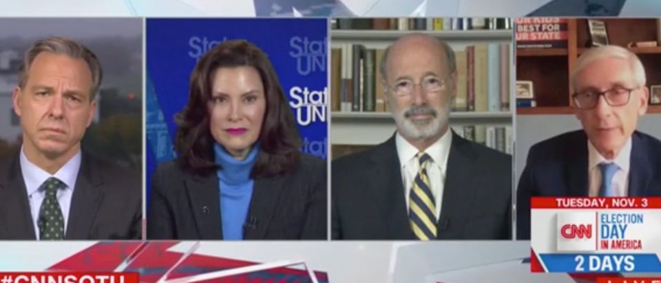 Jake Tapper speaks with Gretchen Whitmer, Tom Wolf and Tony Evers. Screenshot/CNN