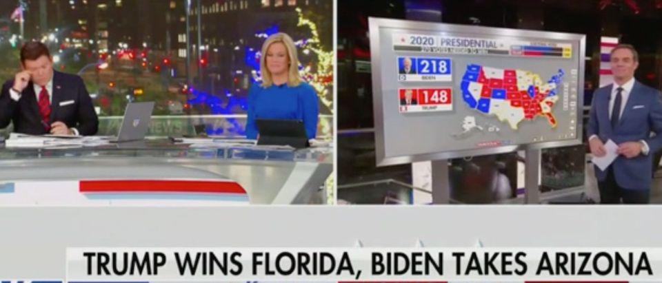Bret Baier, Martha MacCallum and Bill Hemmer cover Election Night. Screenshot/Fox News