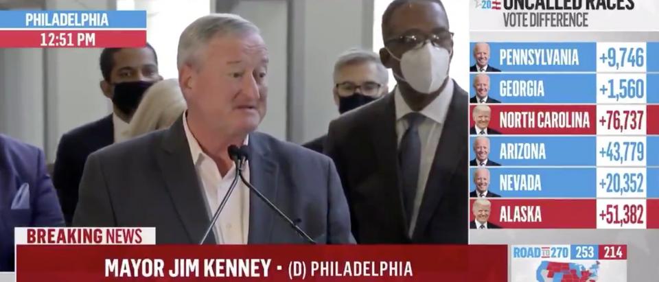 Philadelphia Mayor Jim Kennedy speaks Friday regarding counting of votes (Screenshot/Twitter Acyn Torabi