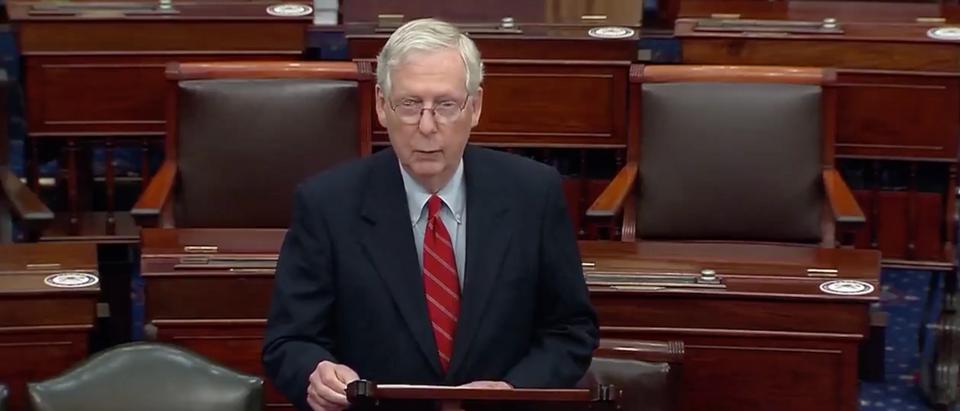 Senate Majority Leader Mitch McConnell speaks on the Senate floor on Monday (Screenshot/Twitter Reuters)