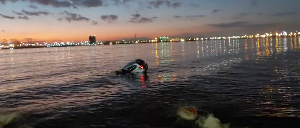 An unidentified 68-year-old man is saved by Anthony Capuano after he accidentally drove his car into a bay in New Jersey (Screenshot/ Youtube The Jersey Journal)