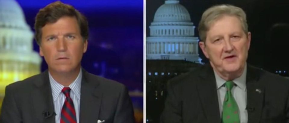 Tucker Carlson speaks with Republican Louisiana Sen. John Kennedy. Screenshot/Fox News