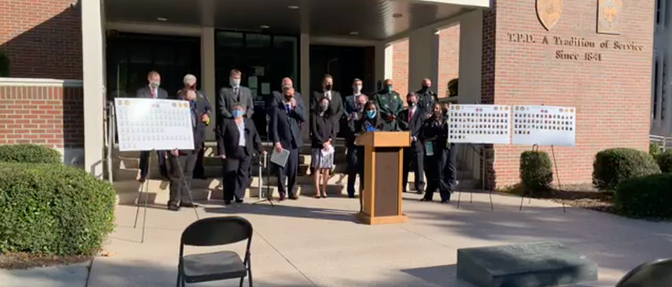 Tallahassee Police Department holds a press conference regarding a large-scale human trafficking investigation (Screenshot/ Facebook City of Tallahassee Police Department)