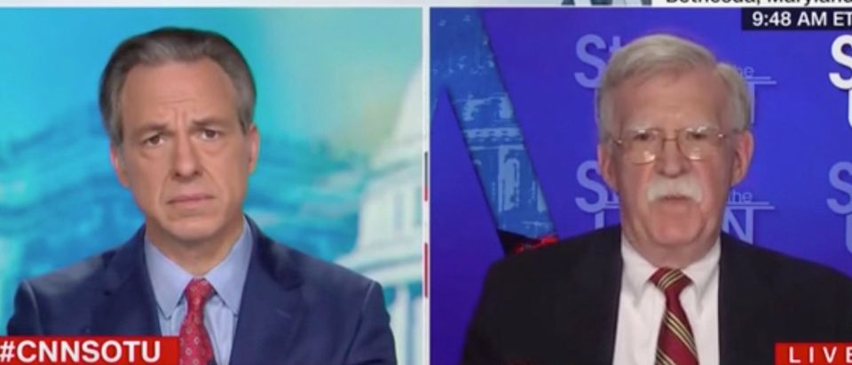 """ake Tapper speaks with John Bolton on """"State of the Union."""" Screenshot/CNN"""