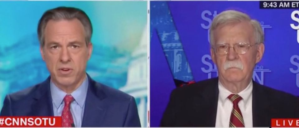 """Jake Tapper speaks with John Bolton on """"State of the Union."""" Screenshot/CNN"""