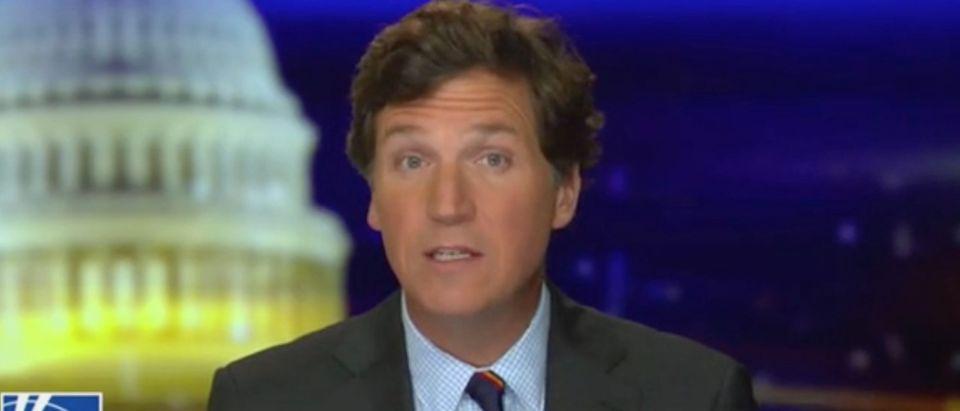"Tucker Carlson addresses election integrity on ""Tucker Carlson Tonight."" Screenshot/Fox News"