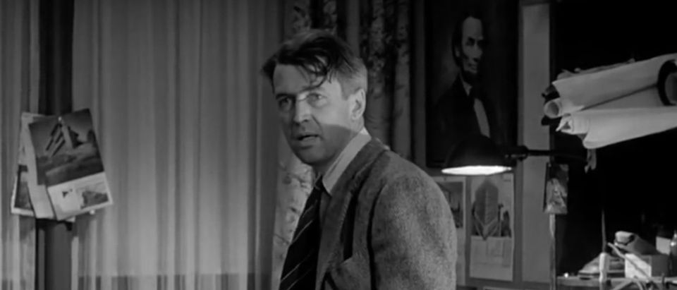 "Jimmy Stewart appears in ""It's a Wonderful Life."" Screenshot/YouTube"