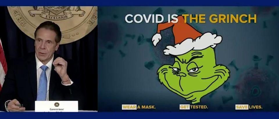 Democratic New York Gov. Andrew Cuomo gives coronavirus briefing. Screenshot/Twitter/therecount