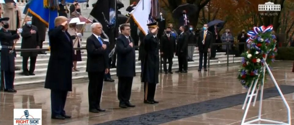 President Trump and VP Pence at the Tomb of the Uknown Soldier. (Screenshot/YouTube)