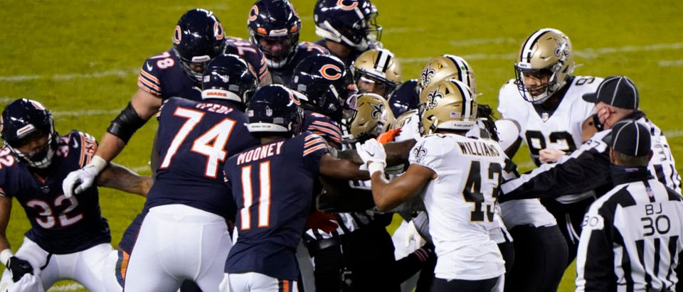 Nov 1, 2020; Chicago, Illinois, USA; Chicago Bears wide receiver Javon Wims (83) gets into a fight with New Orleans Saints cornerback Janoris Jenkins (20) during the third quarter at Soldier Field. Mandatory Credit: Mike Dinovo-USA TODAY Sports via Reuters