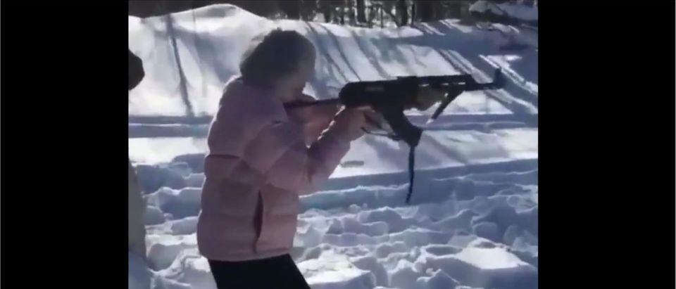 Woman Shooting Video (Credit: Screenshot/Twitter video https://twitter.com/NRA/status/1333102072015822851)
