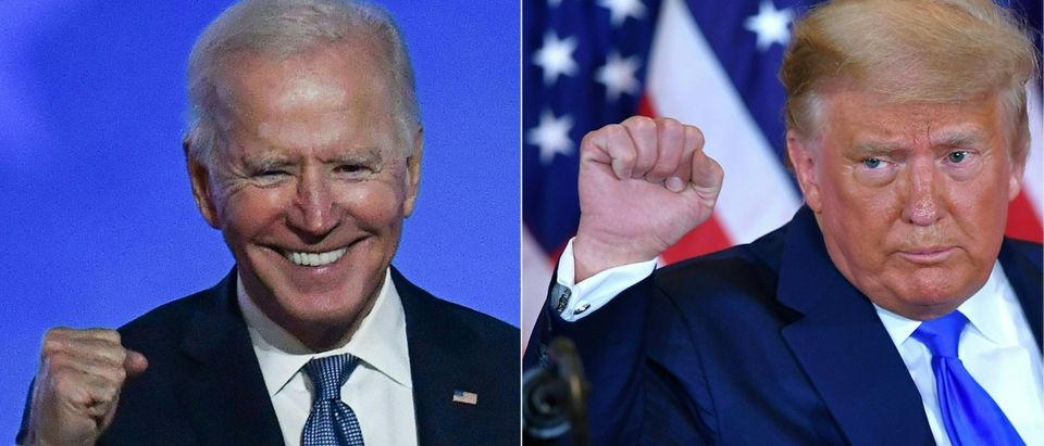 This combination of pictures created on November 04, 2020 shows Democratic presidential nominee Joe Biden (L) in Wilmington, Delaware, and US President Donald Trump (R) in Washington, DC both pumping their fist during an election night speech early November 4, 2020. - President Donald Trump and Democratic challenger Joe Biden are battling it out for the White House, with polls closed across the United States -- and the American people waiting for results in key battlegrounds still up for grabs, one day after the US presidential election November 03. (Photos by ANGELA WEISS and MANDEL NGAN / AFP) (Photo by ANGELA WEISS,MANDEL NGAN/AFP via Getty Images)
