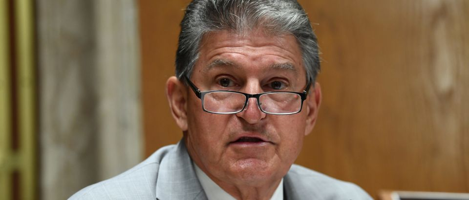 Sen. Joe Manchin (D-WV) questions Ajit Pai, Chairman of the Federal Communications Commission, during his testimony before an oversight hearing to examine the Federal Communications Commission spectrum auctions program for fiscal year 2021 on June 16, 2020 in Washington, DC. The hearing was held by the Senate Appropriations Subcommittee on Financial Services and General Government. (Photo by Toni Sandys-Pool/Getty Images)