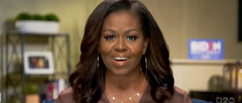 In this screenshot from the DNCC's livestream of the 2020 Democratic National Convention, Former First Lady Michelle Obama addresses the virtual convention on August 17, 2020. The convention, which was once expected to draw 50,000 people to Milwaukee, Wisconsin, is now taking place virtually due to the coronavirus pandemic. (Photo by Handout/DNCC via Getty Images)