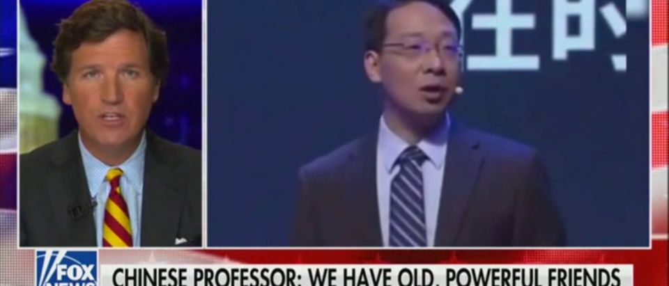Fox News host Tucker Carlson discusses a video of Chinese professor Di Dongsheng