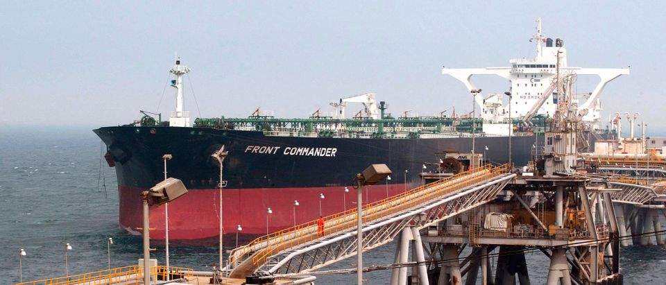 Oil tanker is loaded at the Al Basra Oil Terminal near the southern Iraqi city of Basra