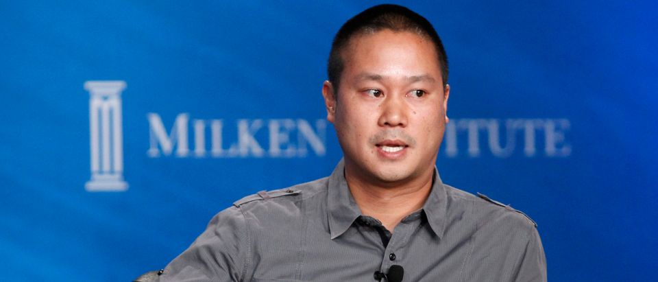 Tony Hsieh, CEO of online retailer Zappos, takes part in a panel discussion at the Milken Institute Global Conference in Beverly Hills