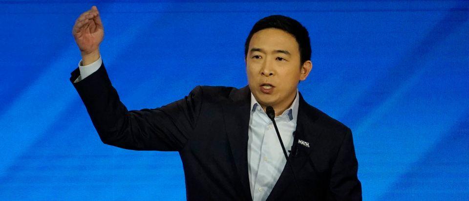 Democratic presidential candidate Yang participates in debate in Manchester