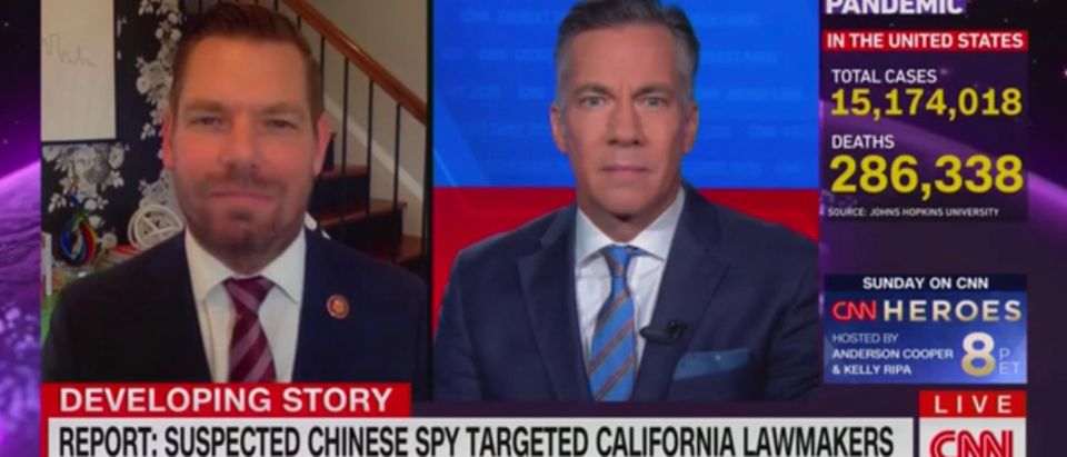 "Rep. Eric Swalwell (D-CA) talks to ""CNN's Newsroom"" about his connection to a suspected Chinese spy, Dec. 9, 2020. CNN screenshot"