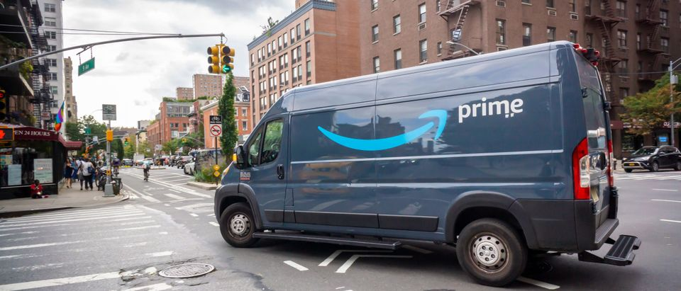 An Amazon delivery van in New York
