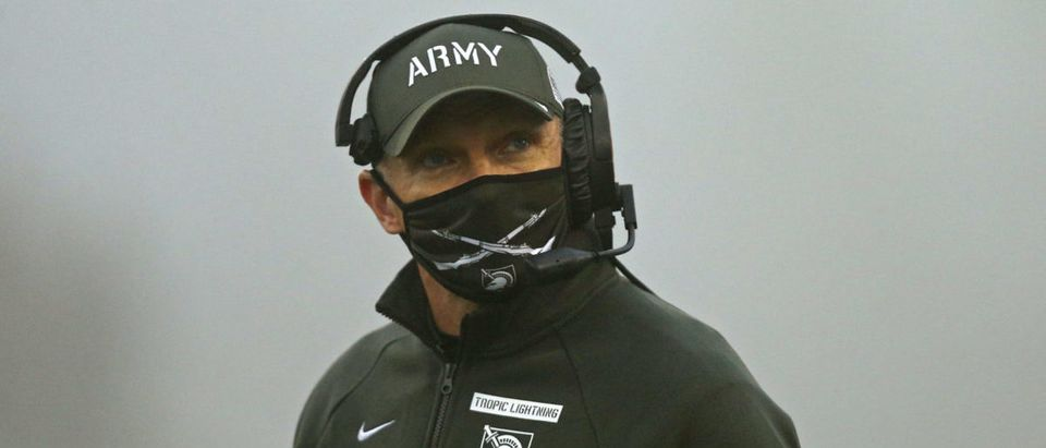 Dec 12, 2020; West Point, New York, USA; Army Black Knights head coach Jeff Monken during the first half of the Army-Navy game at Michie Stadium. Mandatory Credit: Danny Wild-USA TODAY Sports via Reuters