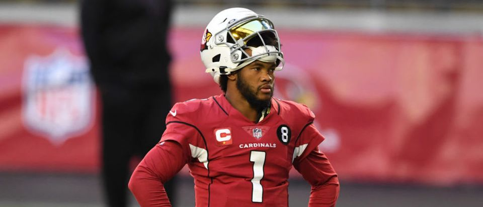 GLENDALE, ARIZONA - DECEMBER 26: Quarterback Kyler Murray #1 of the Arizona Cardinals looks on during warmups before the game against the San Francisco 49ers at State Farm Stadium on December 26, 2020 in Glendale, Arizona. (Photo by Norm Hall/Getty Images)
