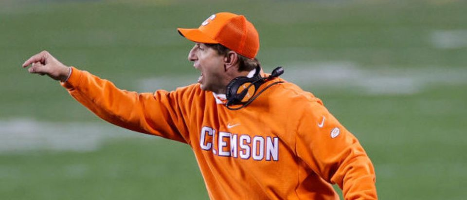 CHARLOTTE, NORTH CAROLINA - DECEMBER 19: Head coach Dabo Swinney of the Clemson Tigers reacts in the second half against the Notre Dame Fighting Irish during the ACC Championship game at Bank of America Stadium on December 19, 2020 in Charlotte, North Carolina. (Photo by Jared C. Tilton/Getty Images)