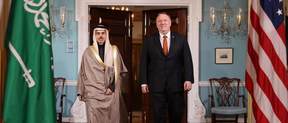 Saudi Arabia Foreign Minister Faisal bin Farhan Al Saud and U.S. Secretary of State Mike Pompeo