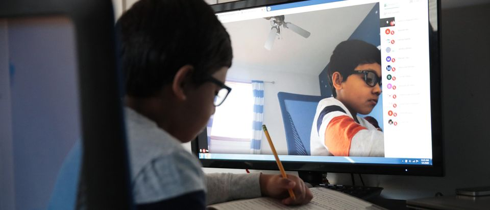 School Children Take Part In Remote Learning During Coronavirus Pandemic