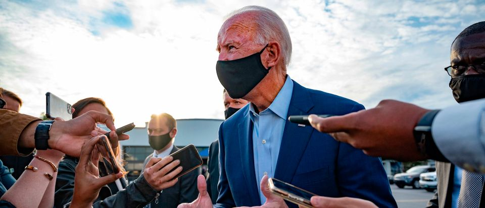 Democratic Presidential Candidate Joe Biden speaks with the press before departing Charlotte, North Carolina, on September 23, 2020. (JIM WATSON/AFP via Getty Images)