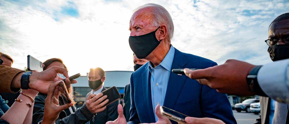 Democratic Presidential Candidate Joe Biden speaks with the press before departing Charlotte, North Carolina, on September 23, 2020. (JIM WATSON/AFP via Getty Images)