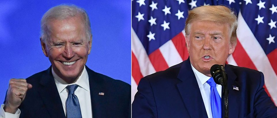 This combination of pictures created on November 4, 2020 shows Democratic presidential nominee Joe Biden gestures after speaking during election night at the Chase Center in Wilmington, Delaware, and US President Donald Trump speaks during election night in the East Room of the White House in Washington, DC, early on November 4, 2020. - President Donald Trump and Democratic challenger Joe Biden are battling it out for the White House, with polls closed across the United States Tuesday -- and a long night of waiting for results in key battlegrounds on the cards. (Photo by ANGELA WEISS,MANDEL NGAN/AFP via Getty Images)