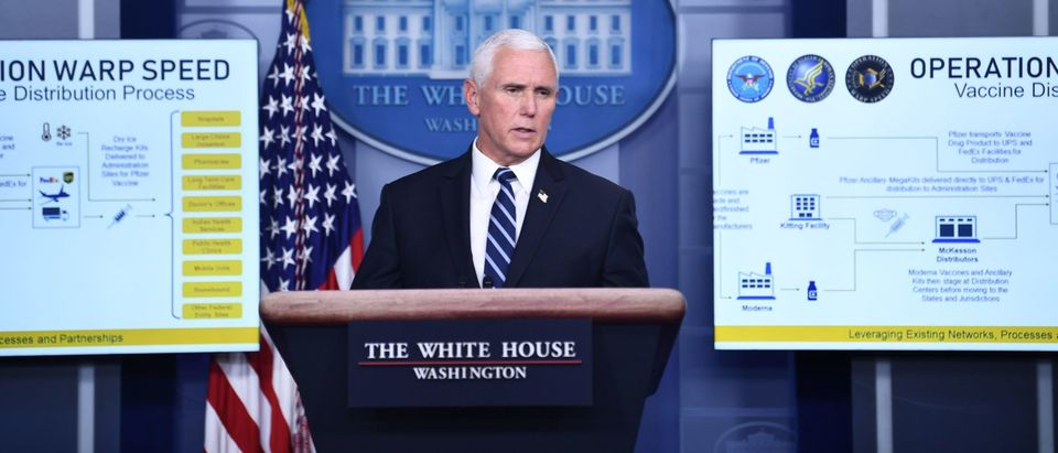 Vice President Mike Pence speaks during a White House Coronavirus Task Force press briefing in the James S. Brady Briefing Room of the White House on November 19, 2020. (Photo by BRENDAN SMIALOWSKI/AFP via Getty Images)