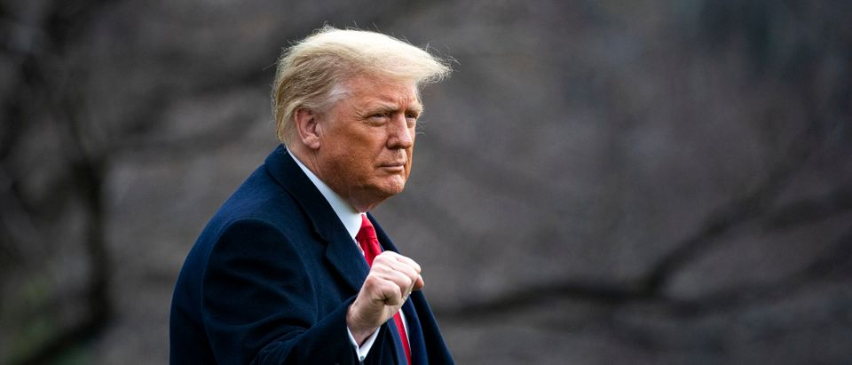 WASHINGTON, DC - DECEMBER 12: U.S. President Donald Trump pumps his fist as he departs on the South Lawn of the White House, on December 12, 2020 in Washington, DC. (Al Drago/Getty Images)