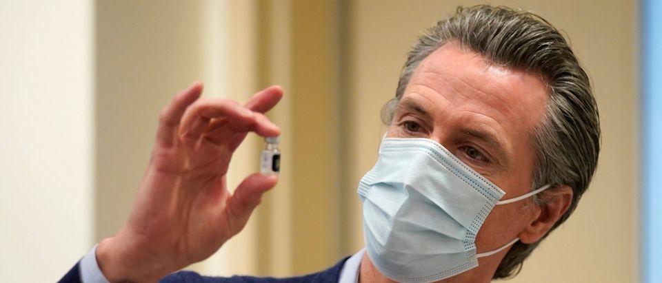 California Gov. Gavin Newsom Visits Los Angeles Hospital As They Administer First Vaccines