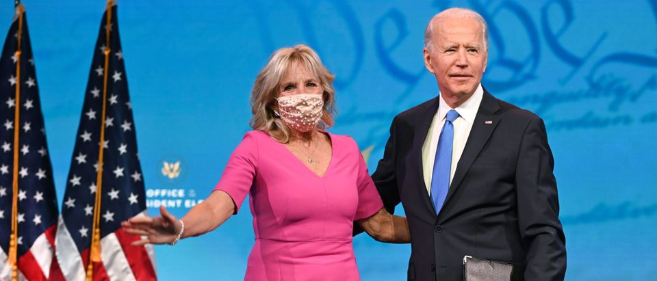 US President-elect Joe Biden arrives with wife Jill Biden to deliver remarks on the Electoral college certification at the Queen Theatre in Wilmington, Delaware on December 14, 2020. (Photo by ROBERTO SCHMIDT/AFP via Getty Images)
